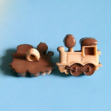 15 Train Transport Kid Novelty Craft Sew On Buttons Dress it up Brown K819