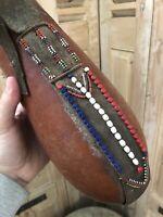 Art Africain Masai de Tanzanie Calebasse Perle Ancien Premier Ethnique Afrique