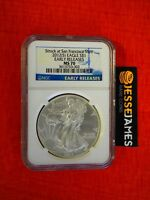 2012 (S) $1 AMERICAN SILVER EAGLE NGC MS70 EARLY RELEASE STRUCK AT SAN FRANCISCO
