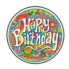 """48 HAPPY BIRTHDAY RETRO ENVELOPE SEALS LABELS STICKERS 1.2"""" ROUND"""