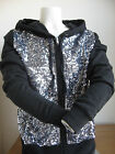 NWT Victoria's Secret PINK Zip Up Hoodie BLACK Front in Sequins Bling Size SMALL