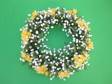 Posten-Kunstblumen,Kranz mit Rosen und Gypsophila Kerzenringe 25 cm Farbe gelb