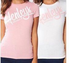 New Women's Henleys NOELLE 2 Pack T Shirts White/Pink Size UK 10