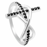 Sterling Silver Created Cats Eye Stone Pave CZ Ring Ginger Lyne Collection