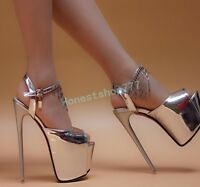 Bling Women Nightclub Shoes Peep Toe wedding  Platform Super High Heel Party