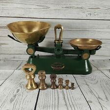 More details for vintage f j thornton the viking scales green & brass + 6 imperial bell weights