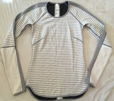 LULULEMON RUNDER UNDER REVERSIBLE  2 Women's PULLOVER l/s  GREY AND WHITE STRIPE