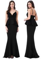 Goddess London Black V Neck Fishtail Peplum Maxi Evening Dress Prom Party Ball