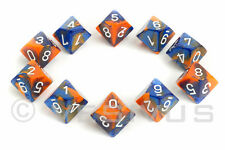 DICE Chessex Gemini BLUE/ORANGE 10d10 d10 Set Marble Shiny RPG Oilers 26252