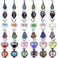 Women Waterdrop Murano Lampwork Glass Pendant Necklace Round Heart Flower Gift