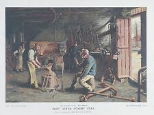 ORIGINALE antico stampa Blacksmith FORGE SMITHY Horse Shoe Workshop c1902