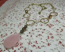 """Pink Topaz Bead Necklace 21 1/2"""" Long Vintage Signed Avon Gold Tone W Lucite"""