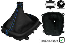 BLUE STITCH REAL LEATHER GEAR BOOT + PLASTIC FRAME FOR HYUNDAI i30 2007-2011