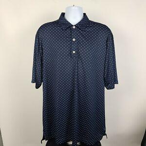 FJ FootJoy Dark Blue Geometric Mens Golf Polo Shirt Size 2XL XXL