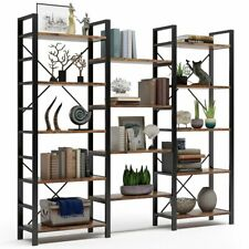 Vintage Industrial Shelves Wood and Metal Triple Bookcases Home Office Furniture