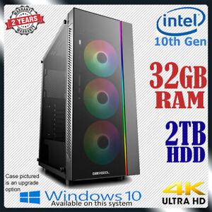 Intel 10th Gen Computer 32GB RAM 2TB Home Office & Gaming Desktop PC Core i7 upg