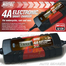 Maypole MP7423 4A 6v/12v 1.2Ah to 120Ah Smart Car Lead Acid AGM Battery Charger