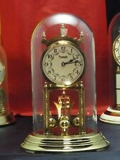 VINTAGE 400 DAY ANNIVERSARY CLOCK BRASS GLASS DOME GERMAN RESTORED