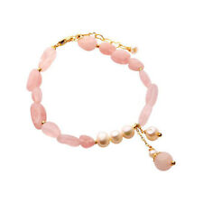 Charm Women Pearls Bracelets Pink Crystal Stone Beads Chain Bangle Party Jewelry