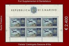 ** San Marino 1954: Foglietto AEREO VEDUTA STEMMA [Varietà; 16a] €2400 Rarità