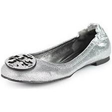 Tory Burch REVA Metallic Pebbled Leather Ballerina Ballet Flat Shoes Silver 5 US