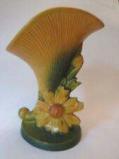 CORNUCOPIA VASE! Vintage ROSEVILLE ART pottery: original BROWN PEONY pattern EXC