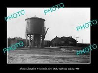 OLD LARGE HISTORIC PHOTO OF MONICO JUNCTION WISCONSIN, THE RAILROAD DEPOT c1900