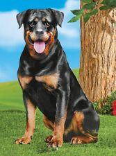Black Rottweiler Puppy Dog Metal Stake Garden Yard Statue Lawn Ornament Decor