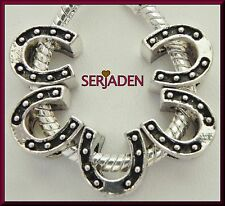 5 Horseshoe Charms for Horse Lover 10 x 11 & 5mm Hole Fits European Jewelry S087