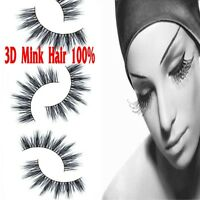 New 1Pair Black Real Mink Hair Black Thick Long False Fake Eye Lashes Eyelashes