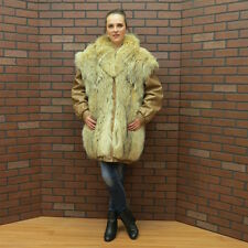 unisex ladies mans CANADIAN made COYOTE WOOF FUR & LEATHER COAT turns to VEST LG
