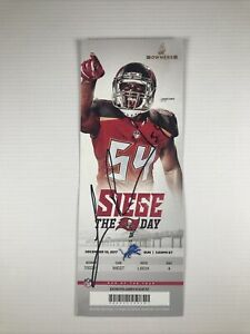 Tampa Bay Buccaneers Lavonte David Signed Owners Suite Ticket 12/10/2017 Crease