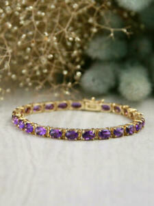 13.9 Ct Oval Cut Amethyst Vintage Style Tennis Bracelet 14k Yellow Gold Over