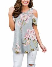 Women Floral Cold Shoulder T-shirt Short Sleeve Summer Blouse Casual Tunic Tops