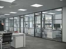 Cgp Office Partition System Glass Aluminum Wall 17 X 9 Withdoor Black Color