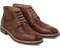 *858 BRAND NEW MEN'S BROWN LEATHER LACE-UP BROGUE BOOTS SIZE UK 6 / EU 40