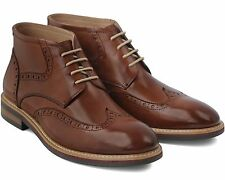 BRAND NEW MEN'S BROWN LEATHER LACE-UP BOOTS SIZE 41