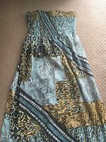 GEORGE - Ladies Blue Patterned Maxi Dress Size 8