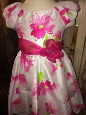 girls Jona Michelle Floral Dress Size 6 Pink Shiny Big Flowers Sparkly