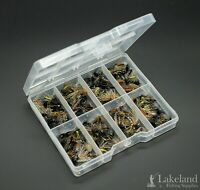Tackle Fly Box + Mixed Assorted Spiders Wet Flies for Trout Fishing, Starter Kit