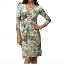 CAbi Galley Jersey Dress Stretch Ruched Paint Sheath Dress Medium 3/4 sleeve