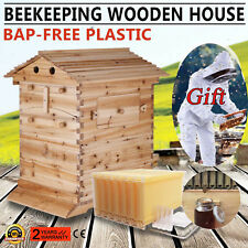 7 PCS Auto Bee Flow Honey Hive Frames + Beehive Beekeeping Wooden Brood House