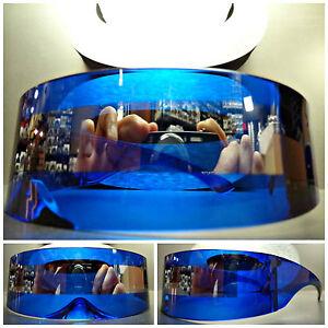 ALIEN ROBOT COSTUME PARTY CLUB RAVE CYCLOPS FUTURISTIC SHEILD SUN GLASSES Blue
