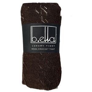 B.ella Luxury Tights Size Medium Knit Espresso Brown Merino Wool Italy NEW 882m