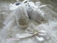 Baby Girls Reborn White Christening Crystal Boots Shoes Headband 0 - 12 mths