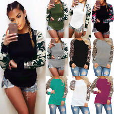 2019 UK Womens Ladies Long Sleeve Tops Tee Fitted Blouse Camo Basic Leopard