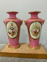 Antique European Likely French Old Paris Porcelain Pair Vases Floral & Face Dec.