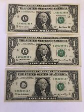 3x 1 Dollar 888 Lucky Serial Numbers - All other numbers add up to 8!
