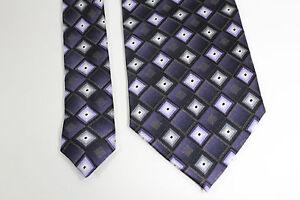 Bergamo Necktie Tie Silk Hand Made Geometric Metallic Gold Purple White Black