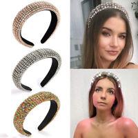 Women Rhinestone Headband Wide Bejewelled Hairband Sparkly Hair Accessories